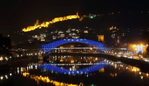 The Bridge of Peace in Tbilisi lit up in EU colours after the decision was made.